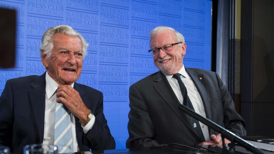 Bob Hawk with ANU Chancellor Gareth Evans. Image: ANU.