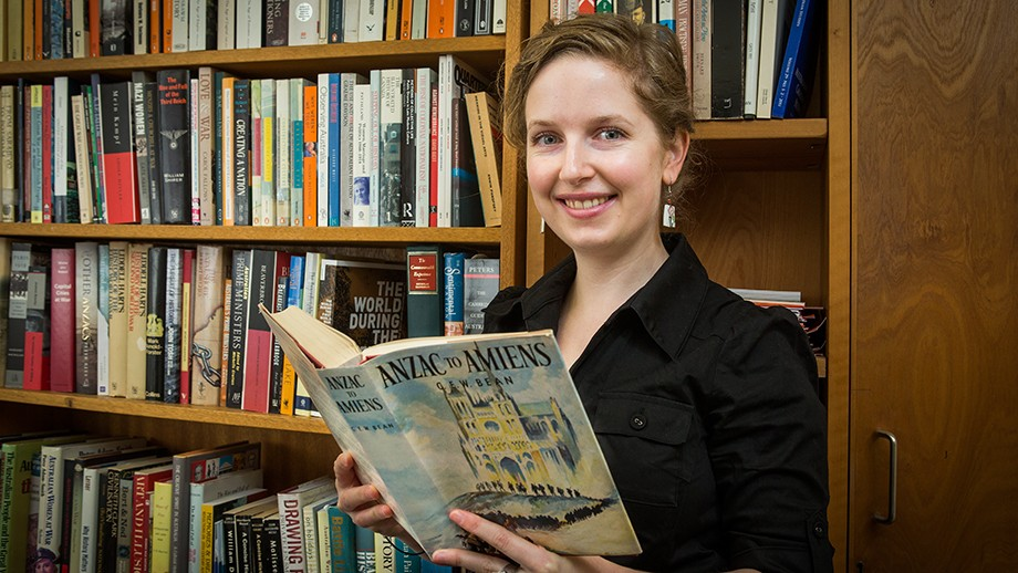 PhD candidate with the ANU School of History, Margaret Hutchinson. Image: Stuart Hay, ANU.