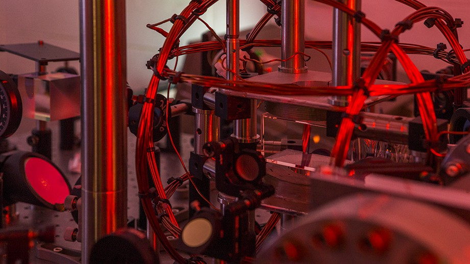 Tiny red cloud to the right of centre is the Bose-Einstein Condensate of supercold atoms. Image Stuart Hay, ANU