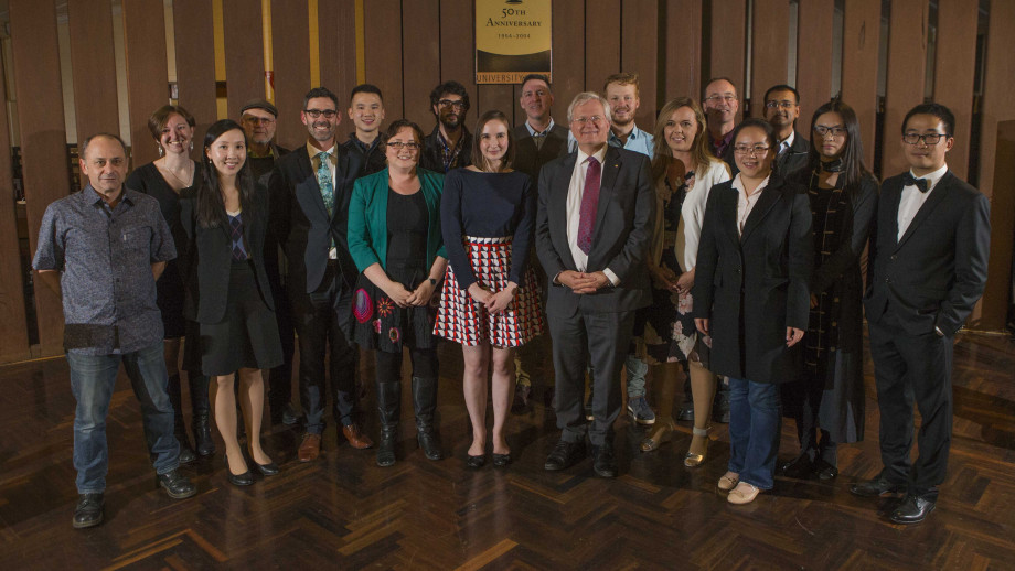 Vice-Chancellor Professor Brian Schmidt surrounded by the recipients of the 2018 VC's Awards for Excellence in Education. Photo by Jack Fox, ANU.