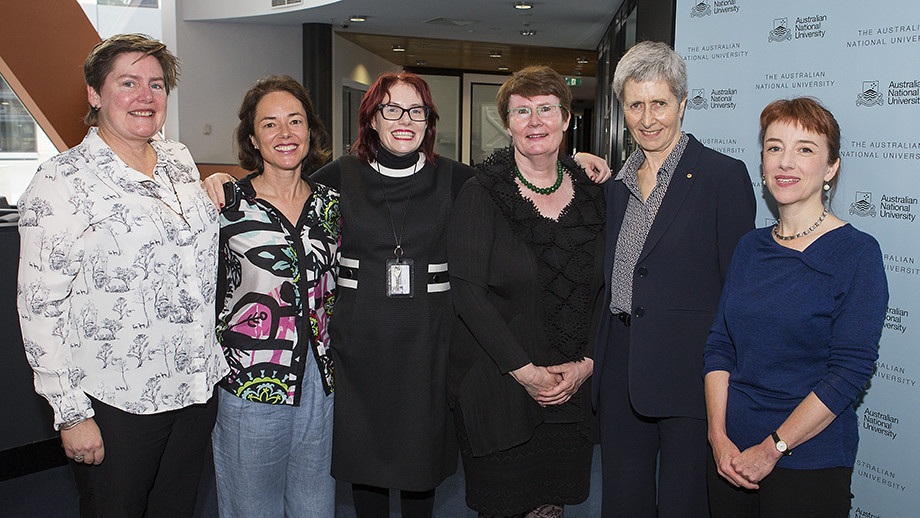 Deputy Vice-Chancellor (Research and Innovation) Professor Margaret Harding (third from right) with some of our researchers who received NHMRC funding. Photo by Stuart Hay, ANU.