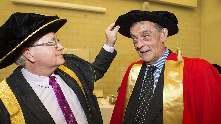 Vice-Chancellor Professor Brian Schmidt and John Mitchell. Photo by Stuart Hay, ANU.