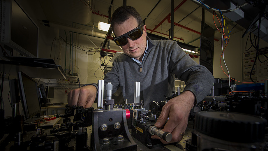 Professor Dragomir Neshev in his lab. Image: Stuart Hay, ANU