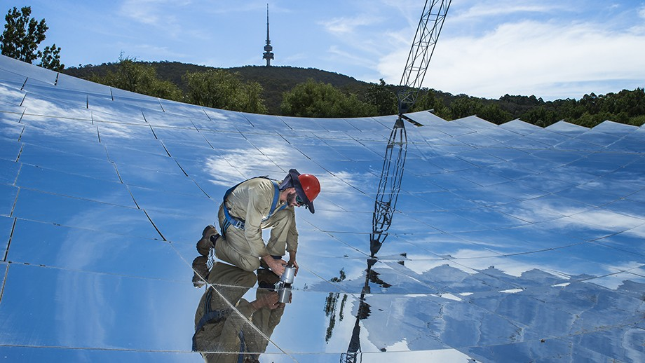 Felix Venn, one of the researchers involved in the project, on the ANU solar thermal dish