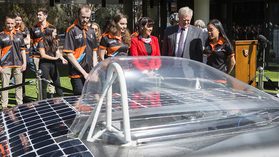 At the unveiling of the Sol Invictus car, on Tuesday. Photo: Stuart Hay, ANU.