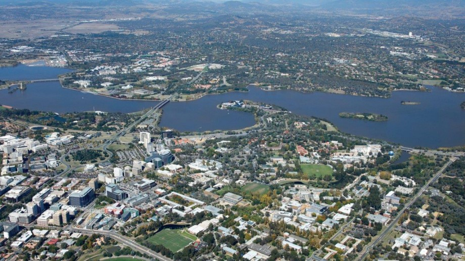 The Australian National University campus in the foreground