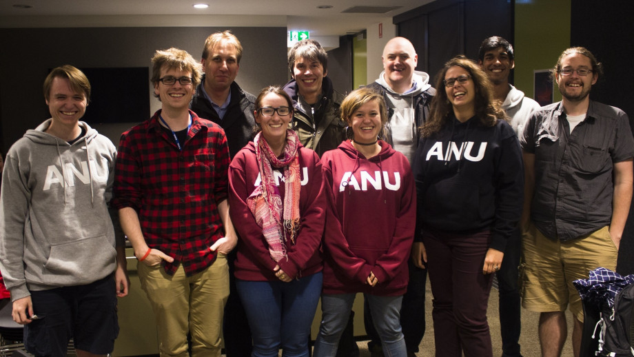 The ANU Planet 9 search team with BBC Stargazing Live hosts Professor Brian Cox and comedian Dara O'Briain at the ANU Siding Spring Observatory