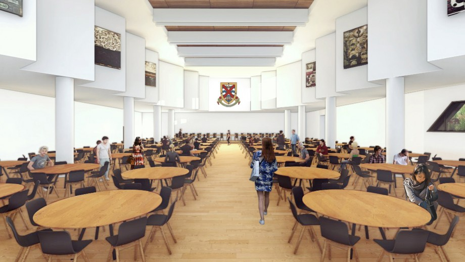 Artists impression of the new residence dining hall.