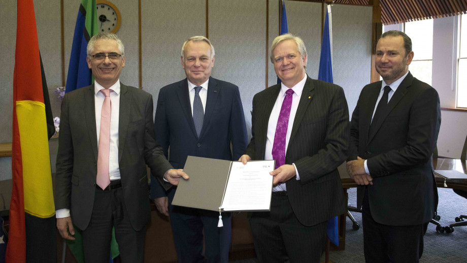 L-R PSL President Thierry Coulhon, France's Minister of Foreign Affairs and International Development, Jean-Marc Ayrault, ANU Vice-Chancellor Professor Brian Schmidt and French Ambassador to Australia Christophe Lecourtier. Image: Darren Boyd.