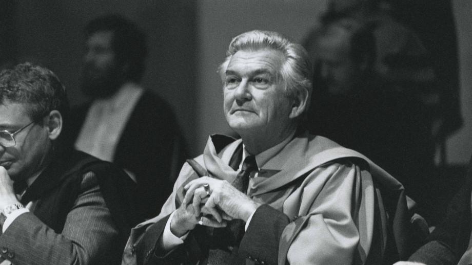 Former Prime Minister Bob Hawk attends an ANU graduation ceremony in 1992. Image: ANU.