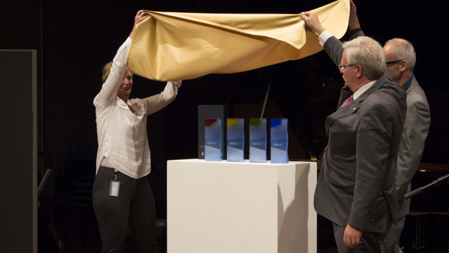 Gold cloth unveiling of the Australian of the Year Awards for 2018. Photo courtesy Evana Ho, ANU.