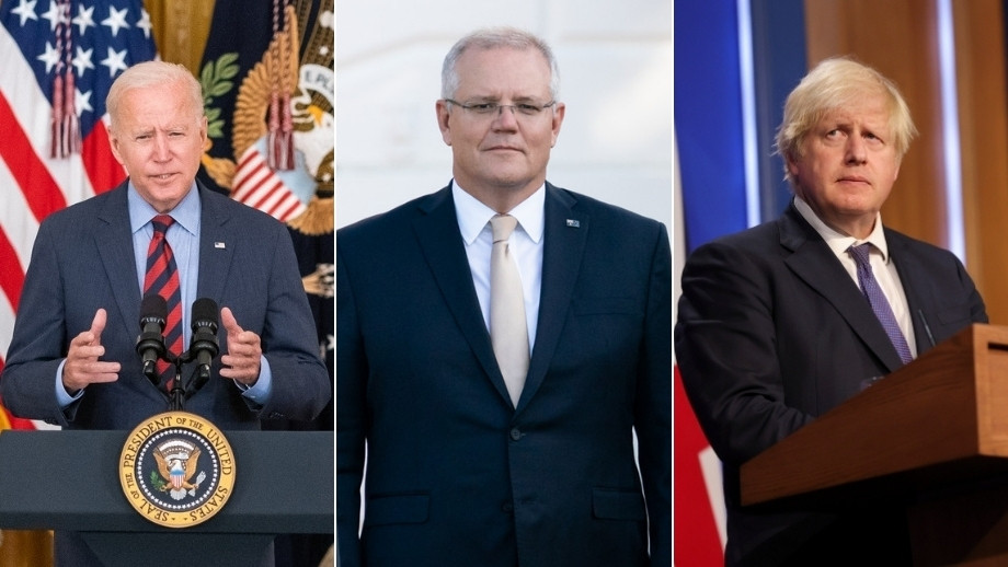 Montage of the US, Australian and UK prime ministers