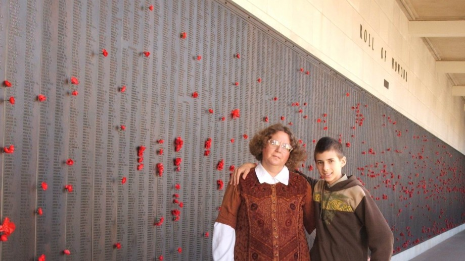 Dr Govor and her son at the Australian War Memorial. Image: supplied.