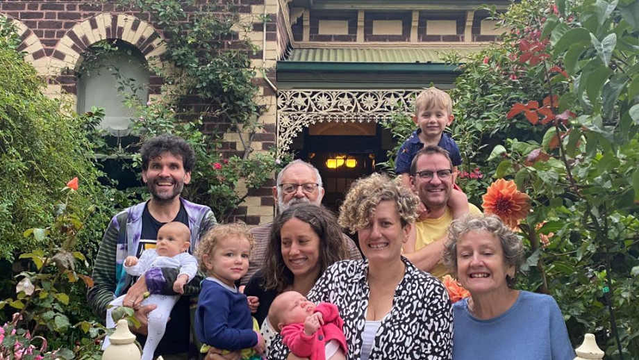 Alex with his son Hugo (left) and other members of his family. Image: supplied