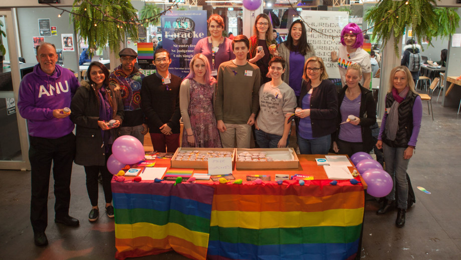 Professor Richard Baker with students and staff at the Pop-Up Village, celebrating Wear It Purple Day. Photo by Jamie Kidston, ANU.