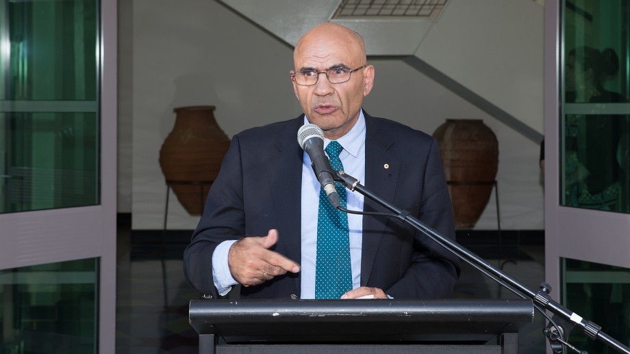 Professor Amin Saikal outlines the complexities of the colflict in the Middle East. Image: Stuart Hay, ANU.