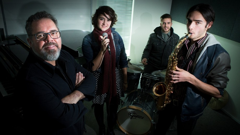 Andrew Farris with ANU School of Music students Rosemarie Costi, Alec Brinsmead and Hugo Lee.