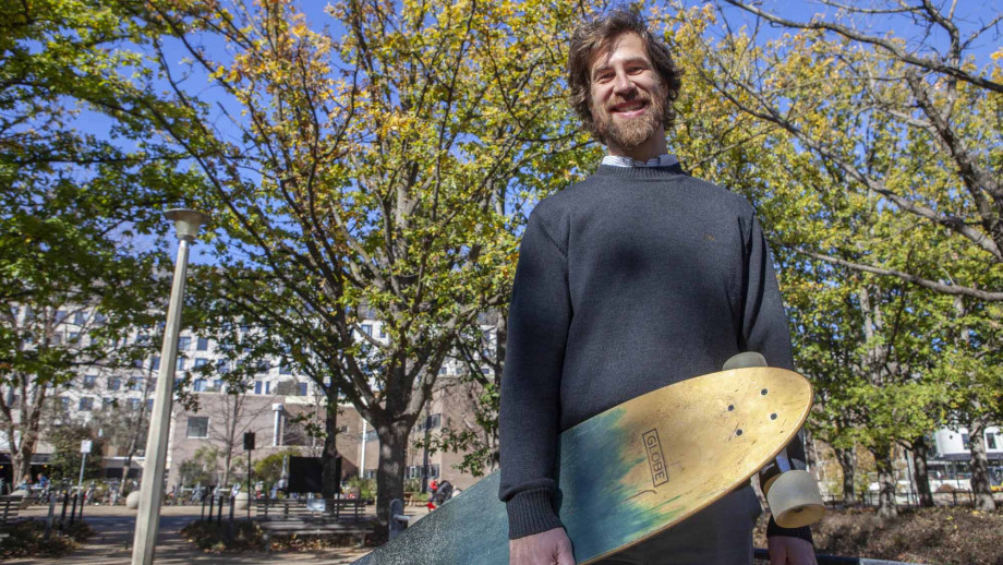 Head of the ANU Counselling Service, Andrew Staniforth (with his skateboard!) Photo by Simon Jenkins, ANU.