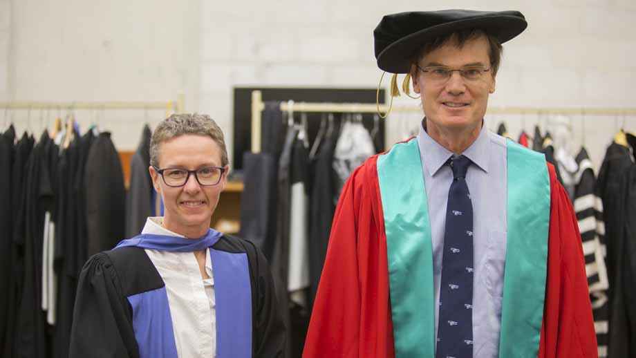 Dean of the ANU College of Engineering and Computer Science, Professor Elanor Huntington and Dr Andrew Tridgell. Photo by Lannon Harley, ANU.