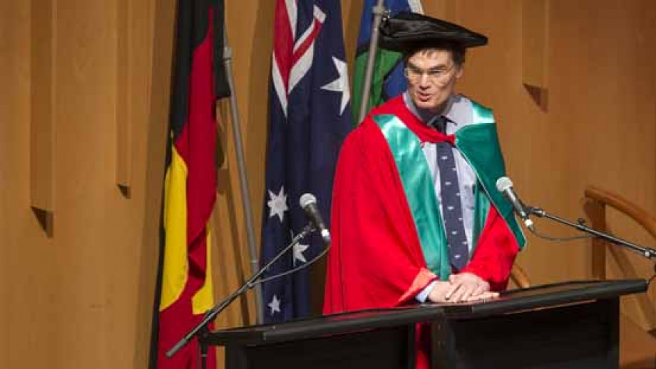 Dr Tridgell speaking after being presented with his Honorary Degree. Photo by Lannon Harley, ANU.
