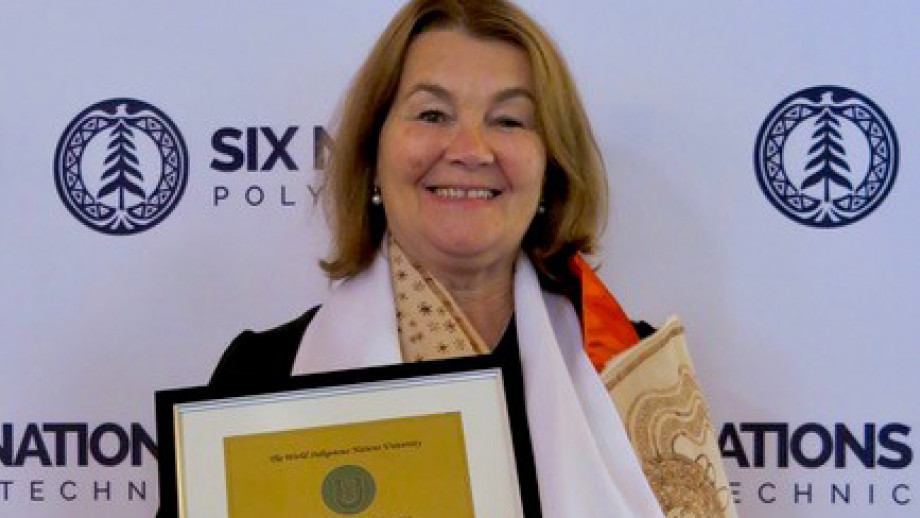 Anne Martin and her Honorary Doctorate of Education which she received when she attended a special ceremony at the World of Indigenous Nations University in Ontario, Canada.