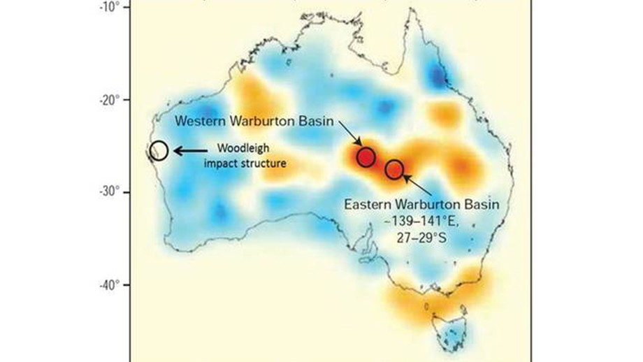 Those red splodges show seismic anomalies which coincide with the Warburton structures in north eastern South Australia. These anomalies represent large scars in the Earth crust. Author provided.