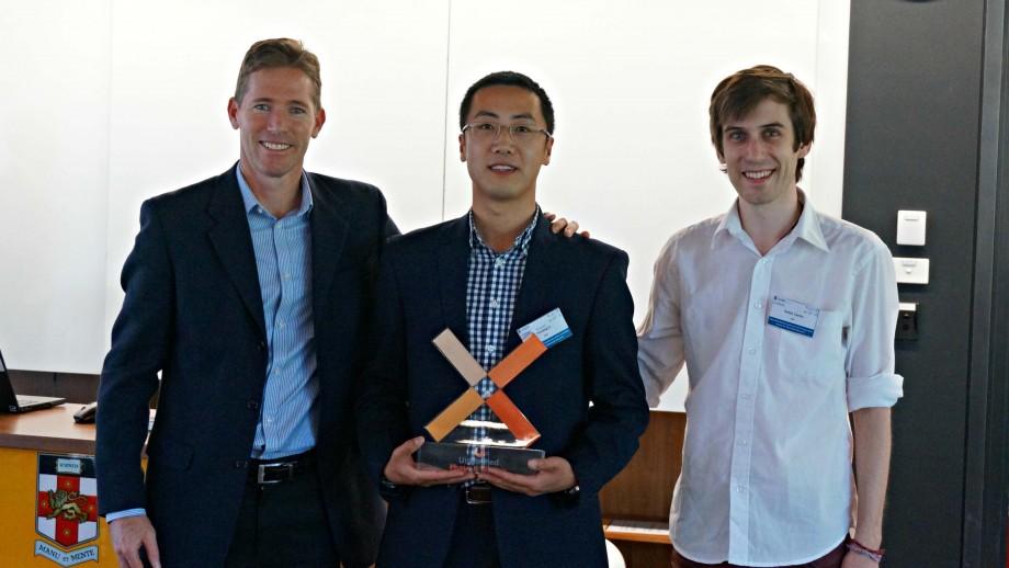 Dr. Alan Bye (BHP Billiton Vice President - Technology), Heyang Li (Thomas), and Robin Candy. Photo: supplied.