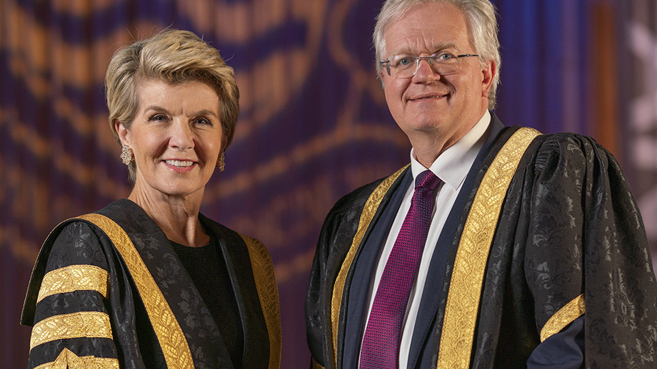 ANU Chancellor the Hon Julie Bishop and Vice-Chancellore Professor Brian Schmidt. Photo: Lannon Harley