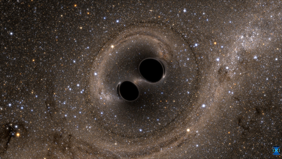 An artist's impression of two black holes merging. Image: SXS