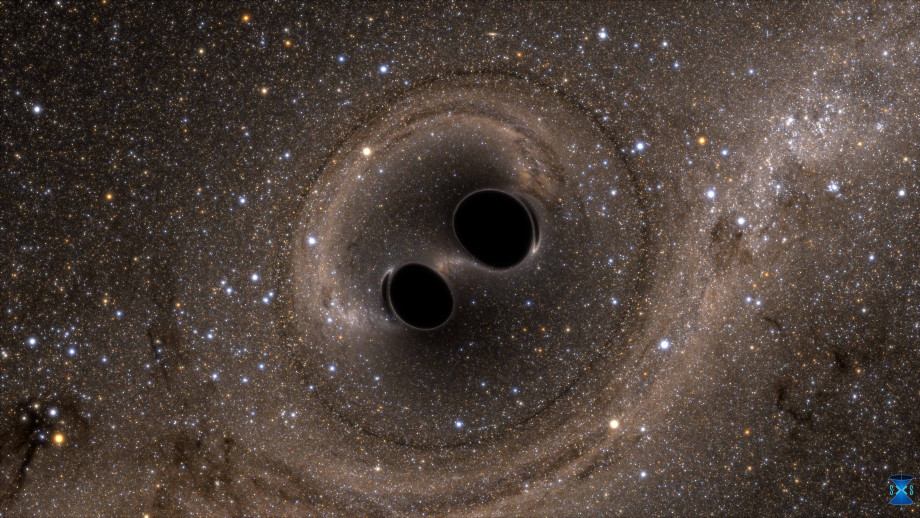 An artist's impression of a black hole merger. Image: supplied