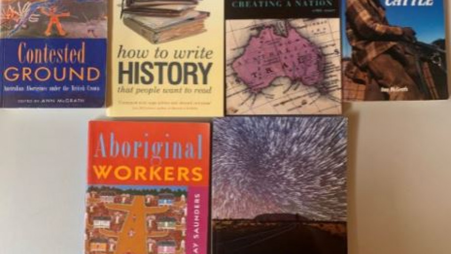 Books donated by Professor McGrath for the auction. Image courtesy Ann McGrath.