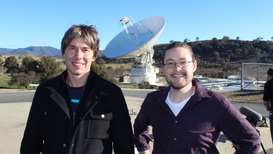 Professor Brian Cox and Dr Brad Tucker during Professor Cox's last visit to Canberra where they visited Tidbinbilla Tracking Station. Image courtesy Glen Nagle, NASA Tidbinbilla Tracking Station.