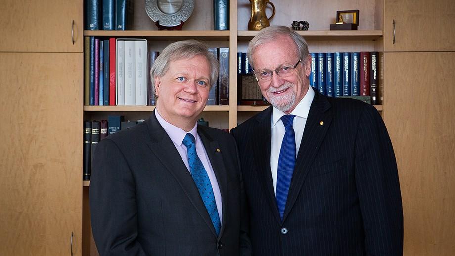 Professor Brian Schmidt AC and ANU Chancellor Professor the Hon Gareth Evans AC QC. Image: Stuart Hay.