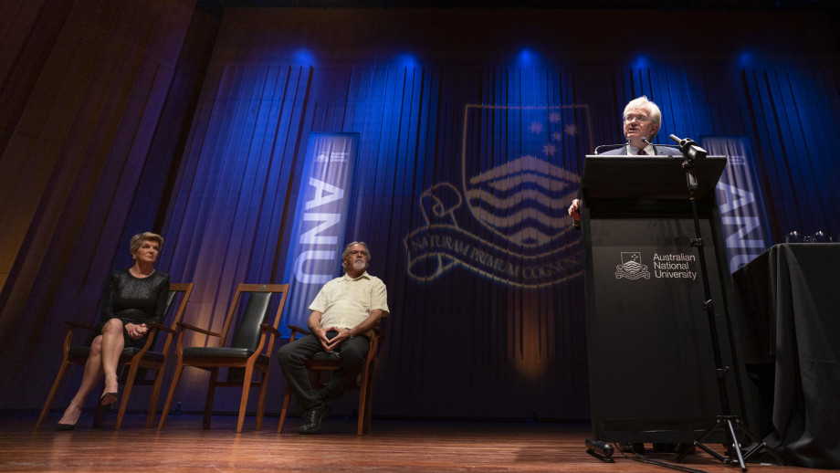 ANU Vice-Chancellor Professor Brian Schmidt delivers the State of the University address. Credit: Lannon Harley, ANU