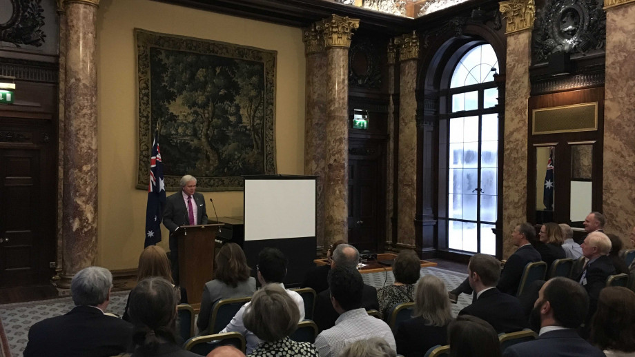 Professor Schmidt addresses the London Alumni Network. Photo courtesy ANU Alumni Relations & Philanthropy.