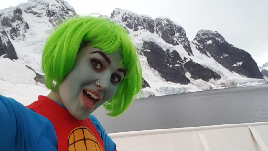 Lee dressed as Captain Planet for the costume party