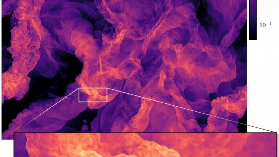 A slice through the turbulent gas in the world's highest-resolution simulation of turbulence. Credit: Federrath et. al, Nature Astronomy.