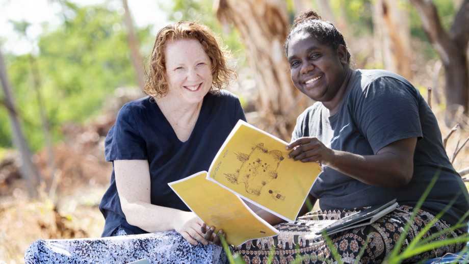 PhD scholar Cathy Bow and native speaker of Kunwinjku, Seraine Namundja. Image: Supplied.
