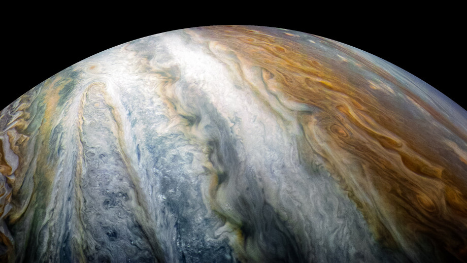 Colourful swirling cloud belts dominate Jupiter's southern hemisphere in this image captured by NASA's Juno spacecraft. Image credit: NASA