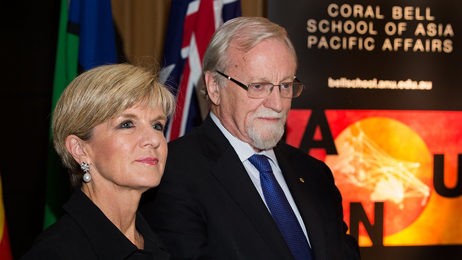 Foreign Affairs Minister Julie Bishop and ANU Chancellor Professor Gareth Evans. Photo by Stuart Hay, ANU.