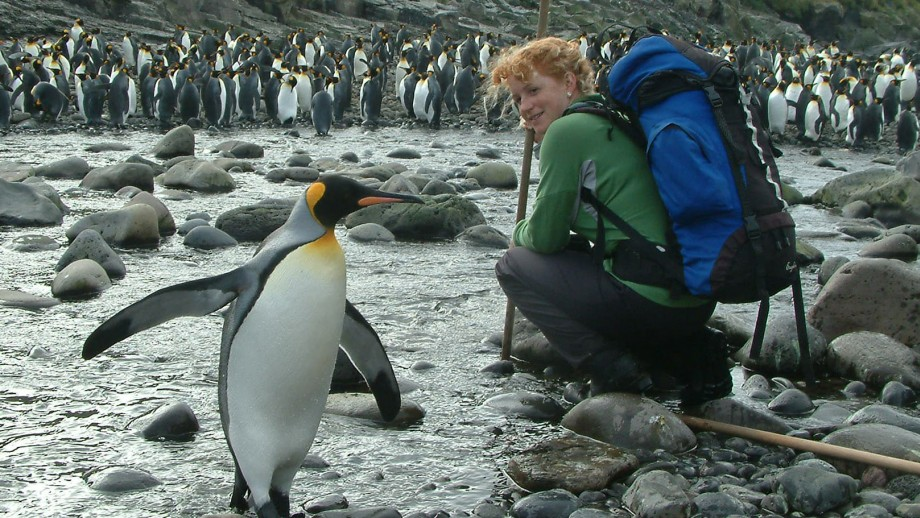 Dr Ceridwen Fraser with an avian friend.  Image Ceridwen Fraser