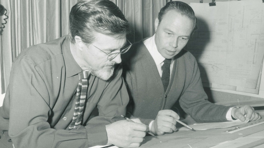 Hans Pillig (left) with ANU Assistant Designer Derek Wrigley.