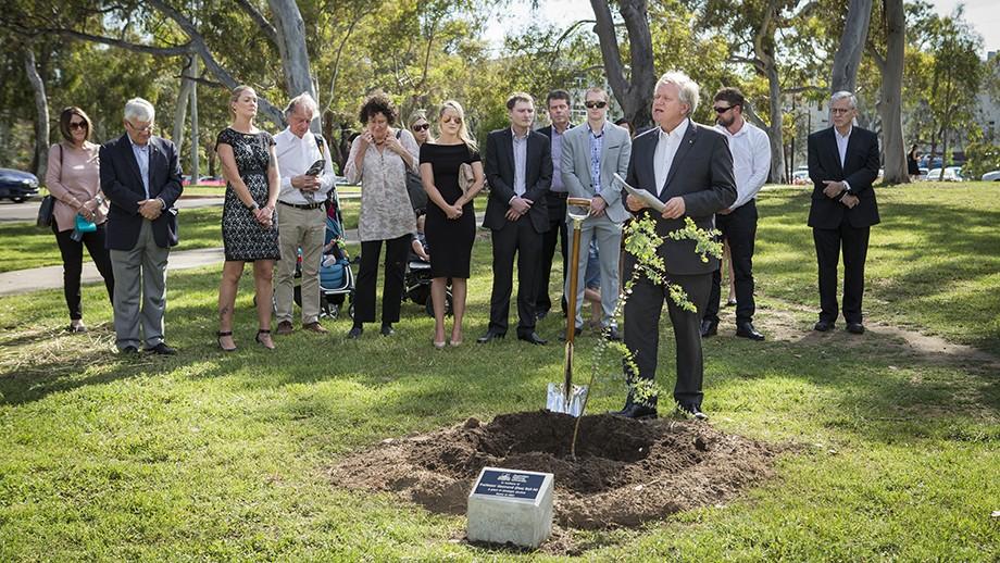 Memorial tree planting for Professor Des Ball.