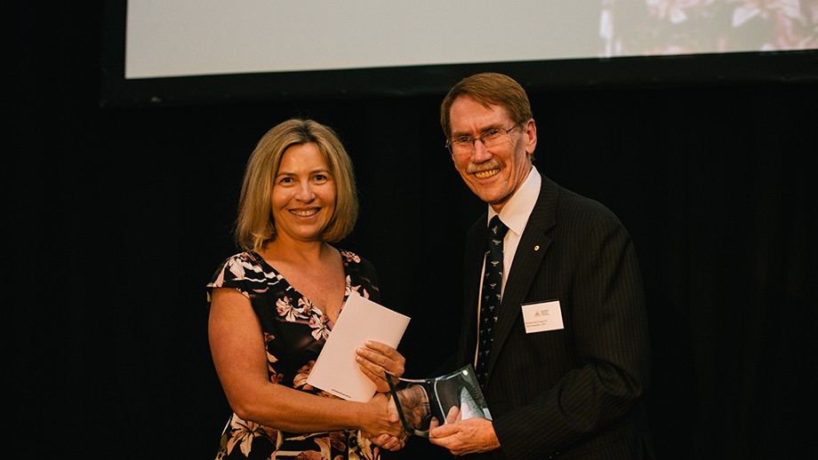 Dr Anne Gallagher with ANU Vice-Chancellor Professor Ian Young.