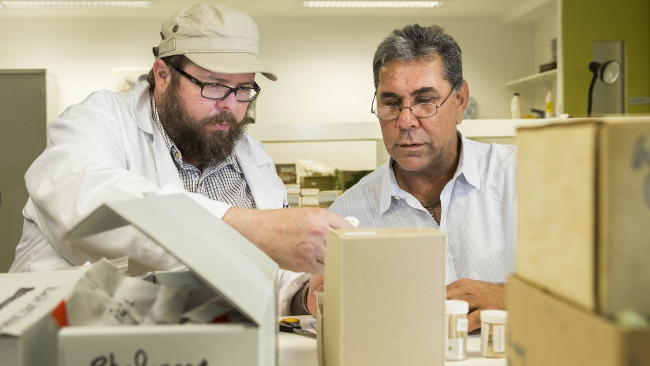 Dr Dr Daryl Wesley from ANU and Steve Meredith from the NSW Office of Environment and Heritage oversee the packing of Ancestral Remains.