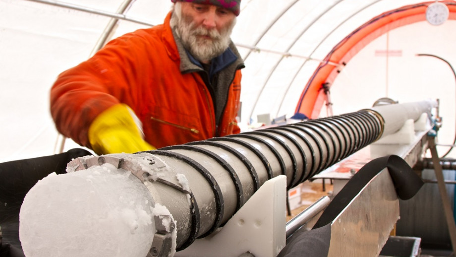 Image of someone drilling ice in Antarctica