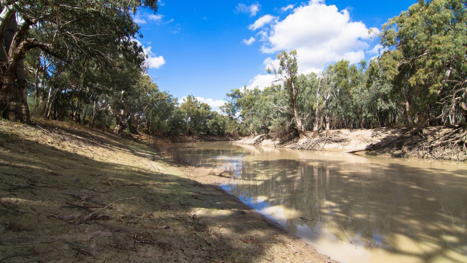 A photo of a river in drought.