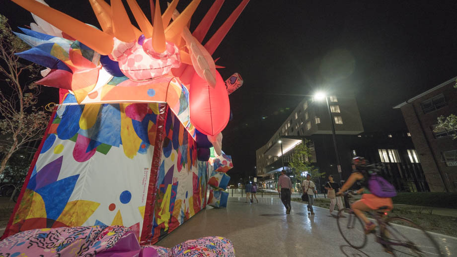 The artwork, Live for Love, will be on display on University Avenue during Canberra's Enlighten Festival. Photos by Lannon Harley, ANU.
