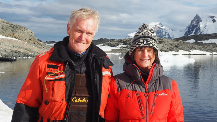 Expedition leader Greg Mortimer and Professor Susan Scott. Photo by Mary-Anne Lea.
