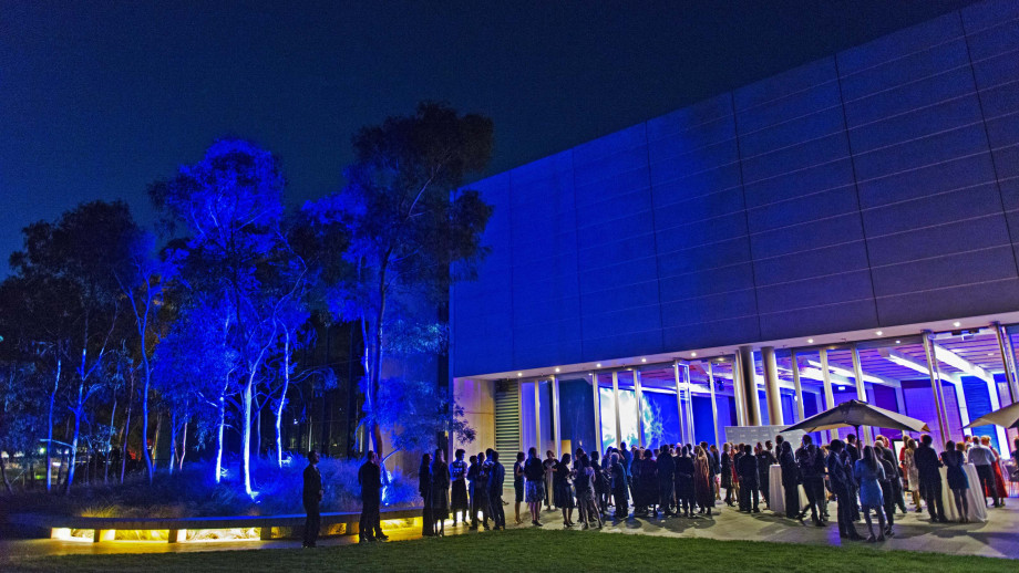 Prior to the Award ceremony, the ANU community gathered for drinks outside the Gandel Hall in the nearby sculpture garden. Photo by Ricky Lloyd.